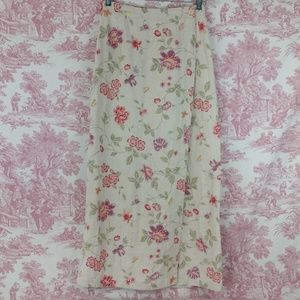 Eddie Bauer Long Linen Skirt Floral Wrap 6 Tall